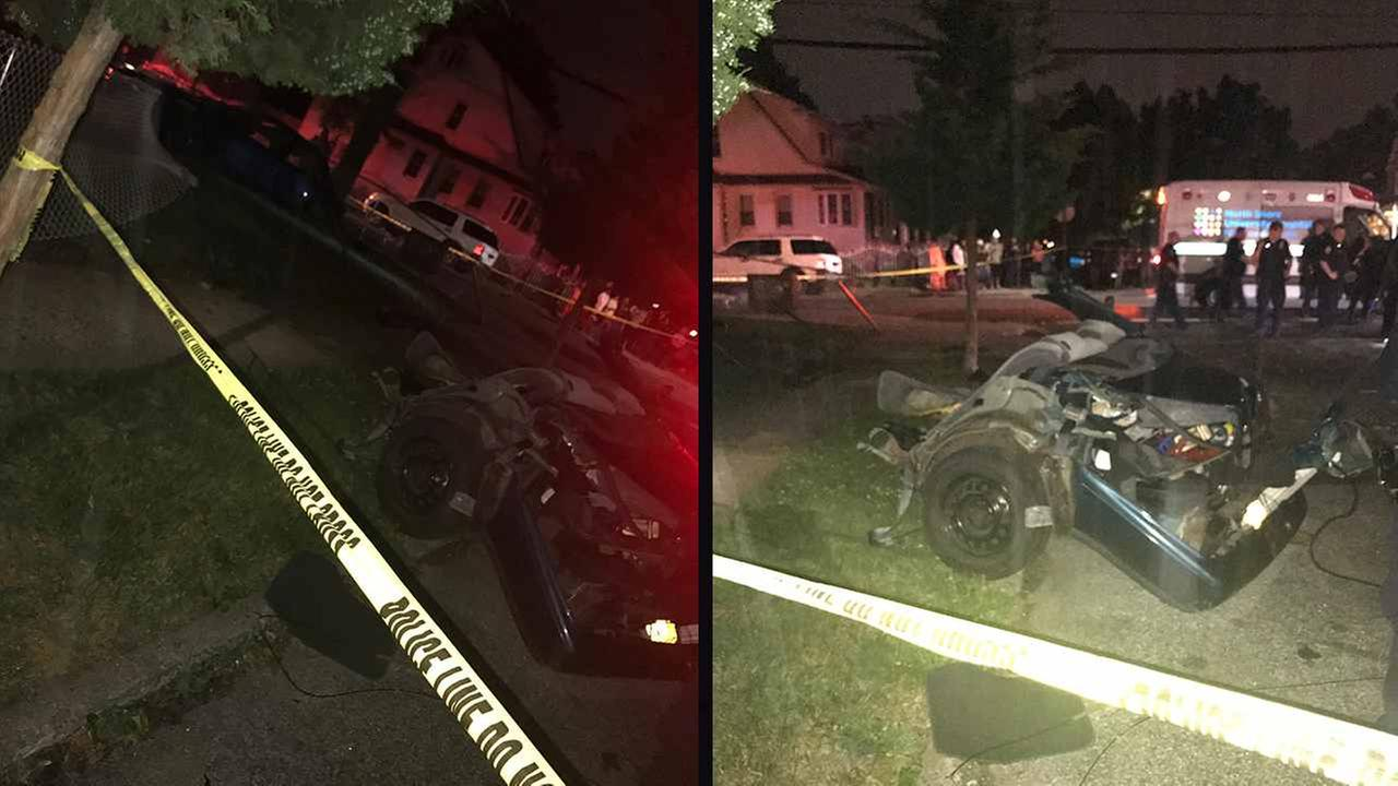 Two men were killed in Hollis, Queens, in a single-car wreck.