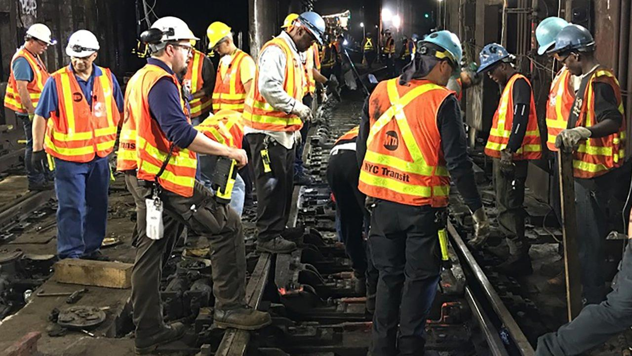 Workers overnight repaired tracks after a subway derailment Tuesday morning.