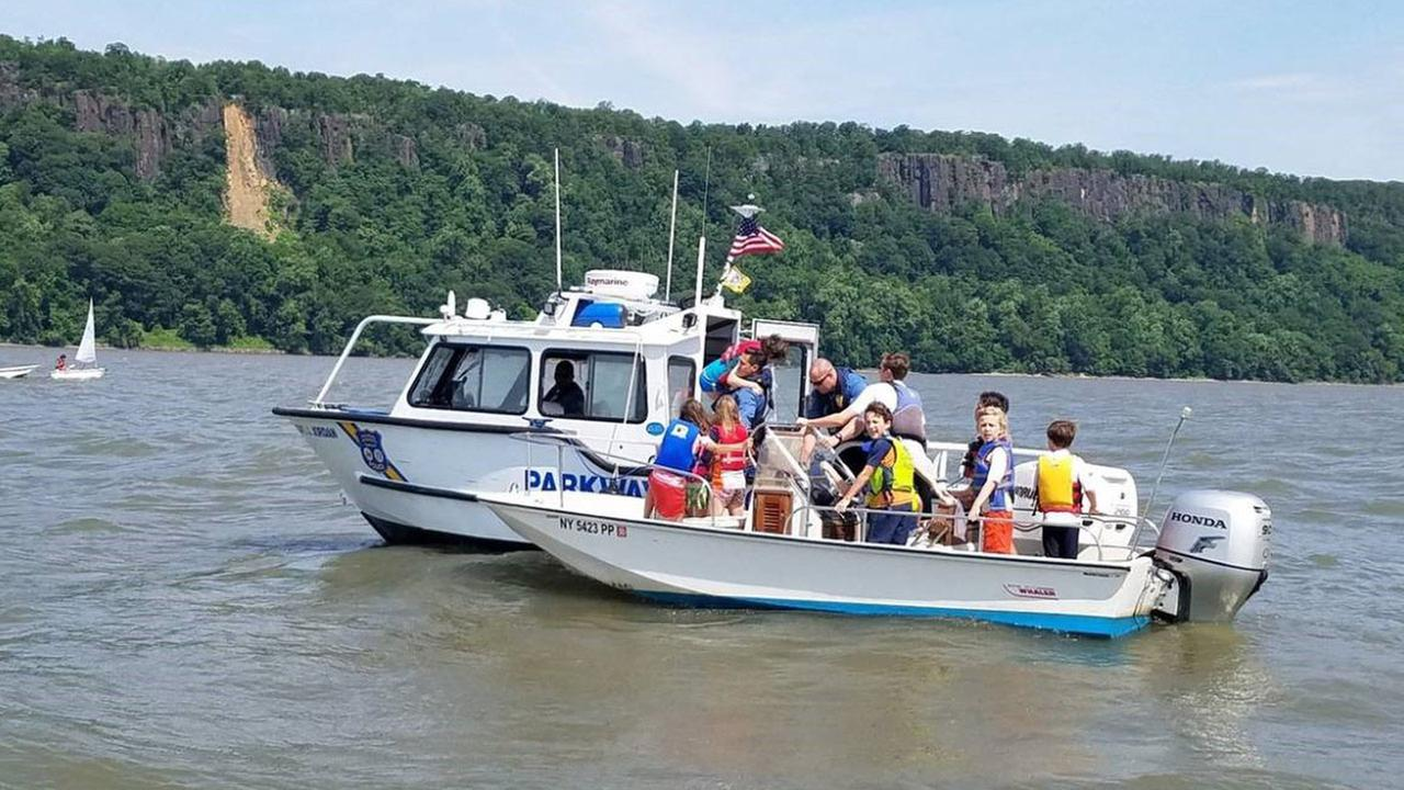 Children rescued from Hudson River after sailboat capsizes