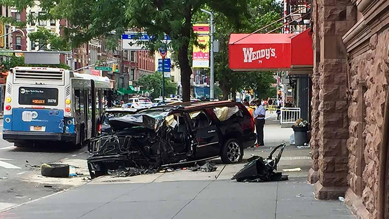 Several people were hurt when an SUV crashed in East Harlem.