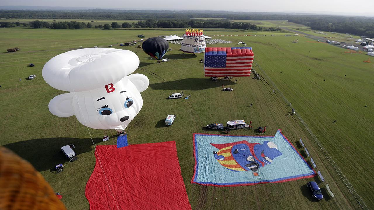 Balloons are seen on the grounds of the Solberg Airport during the first day of flight during the QuickChek New Jersey Festival of Ballooning.