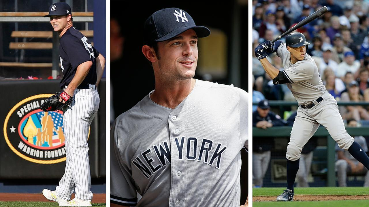 New addition Sonny Gray (AP Photo/Kathy Willens), returning pitcher David Robertson (AP Photo/Bruce Kluckhohn) and slugger Aaron Judge (AP Photo/Elaine Thompson)