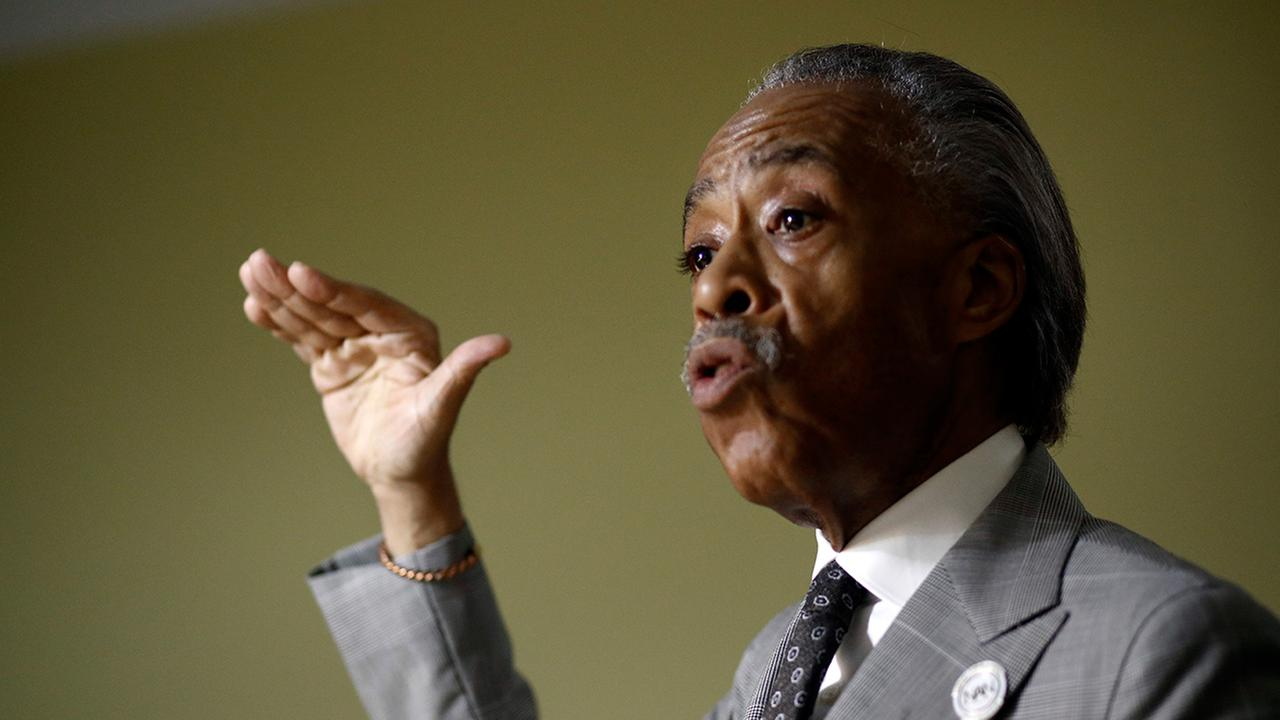 Rev. Al Sharpton speaks with local African-American clergy members Tuesday, Aug. 8, 2017, in Woodlawn, Md.  (AP Photo/Patrick Semansky)