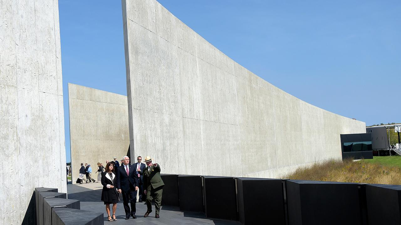 Stephen Clark, Superintendent of the Flight 93 Memorial, gives Vice President Mike Pence and his wife Karen a tour of the Flight 93 National Memorial in Shanksville, Pa.