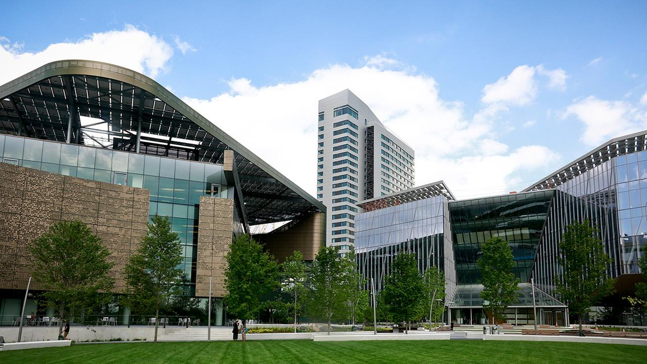 This Aug. 16 photo shows the main buildings of Cornell Tech - the main academic building (the Bloomberg Center), a 26-story residence hall, and a programs building (the Bridge)
