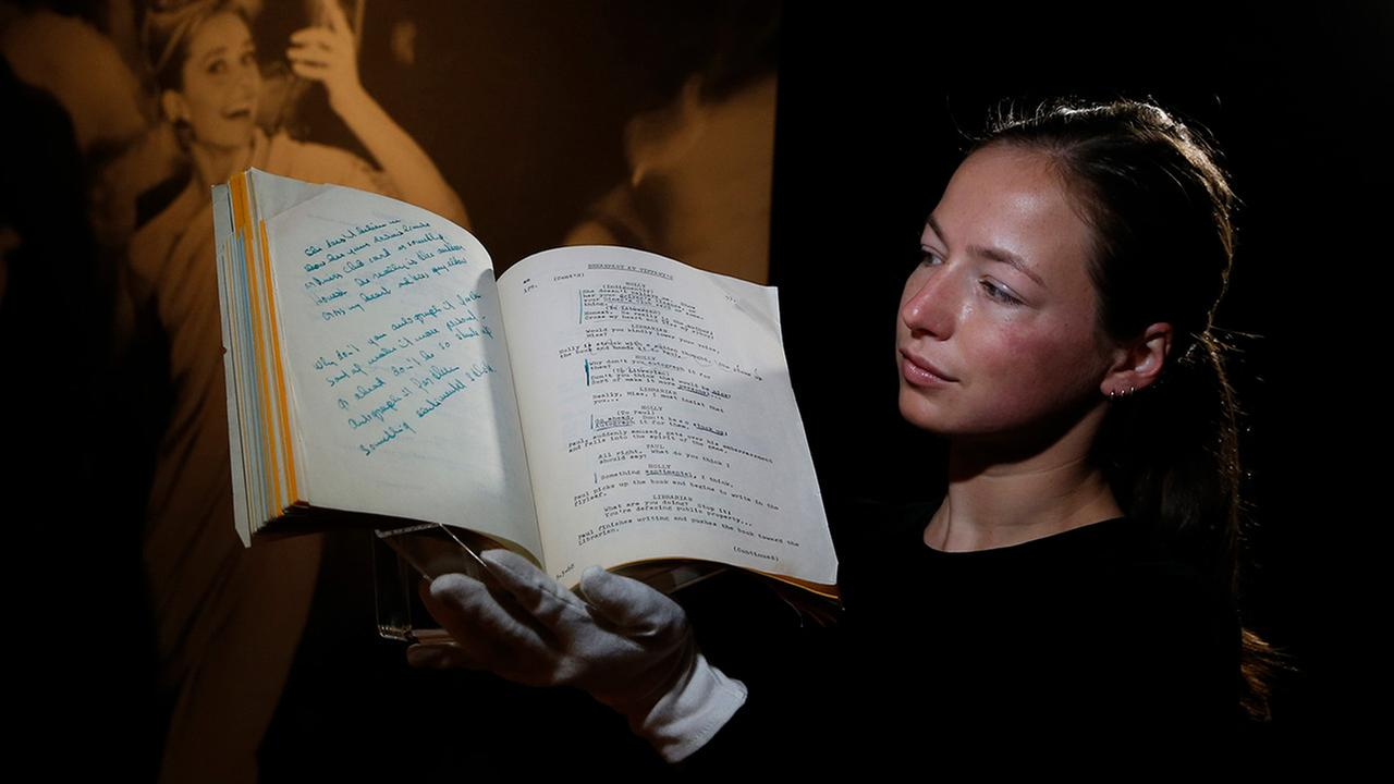 A script for the film Breakfast at Tiffanys owned by the iconic actress Audrey Hepburn is displayed at Christies auction house in London, Friday, Sept. 22, 2017.