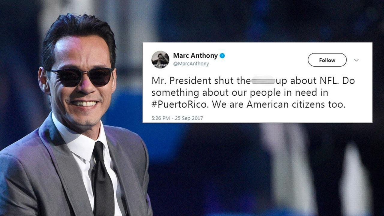 Marc Anthony tweeted,  Mr. President shut the [expletive] up about NFL. Do something about our people in need in #PuertoRico. We are American citizens too.