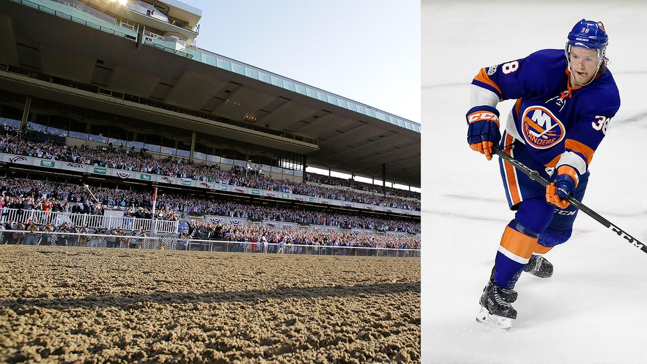 FILE - Belmont Park (left) and New York Islanders Seth Helgeson (right)