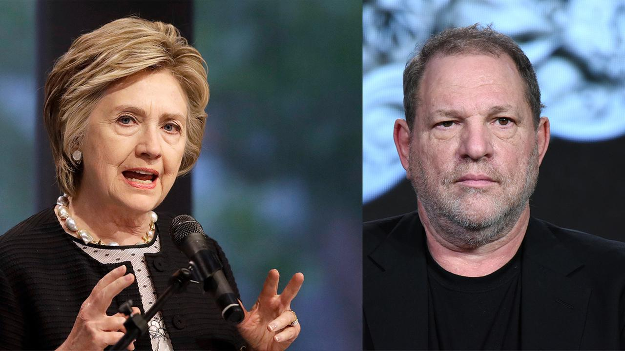 FILE - Hillary Clinton (left) and Harvey Weinstein