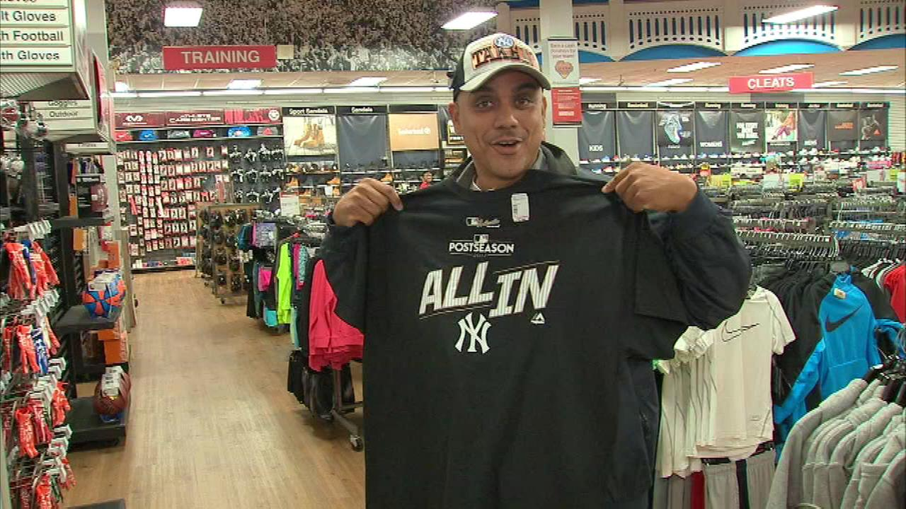 Yankees fans celebrate ALDS win, rush to get new gear