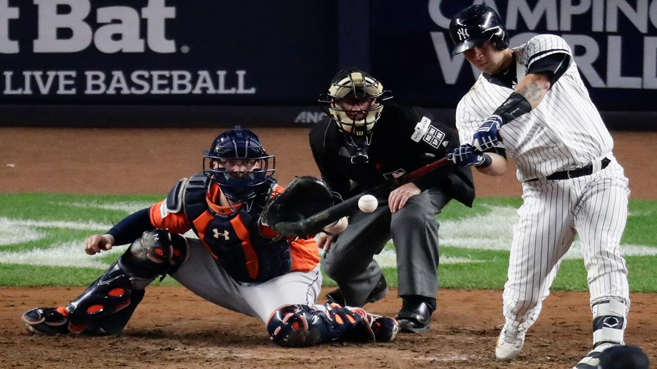 New York Yankees Gary Sanchez hits a home run during the seventh inning of Game 5 against the Houston Astros Wednesday, Oct. 18, 2017, in New York.