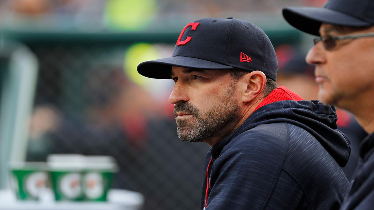 Cleveland Indians pitching coach Mickey Callaway watches with manager Terry Francona against the Detroit Tigers in the first inning of a baseball game in Detroit