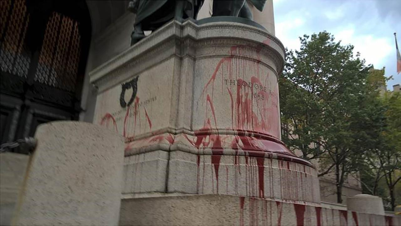 Statue of Theodore Roosevelt outside Museum of Natural History vandalized