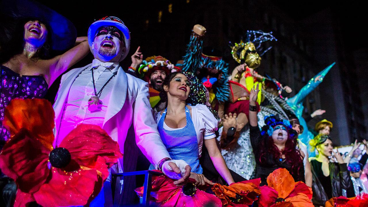 Revelers march during the Greenwich Village Halloween Parade in New York, Monday, Oct. 31, 2016.