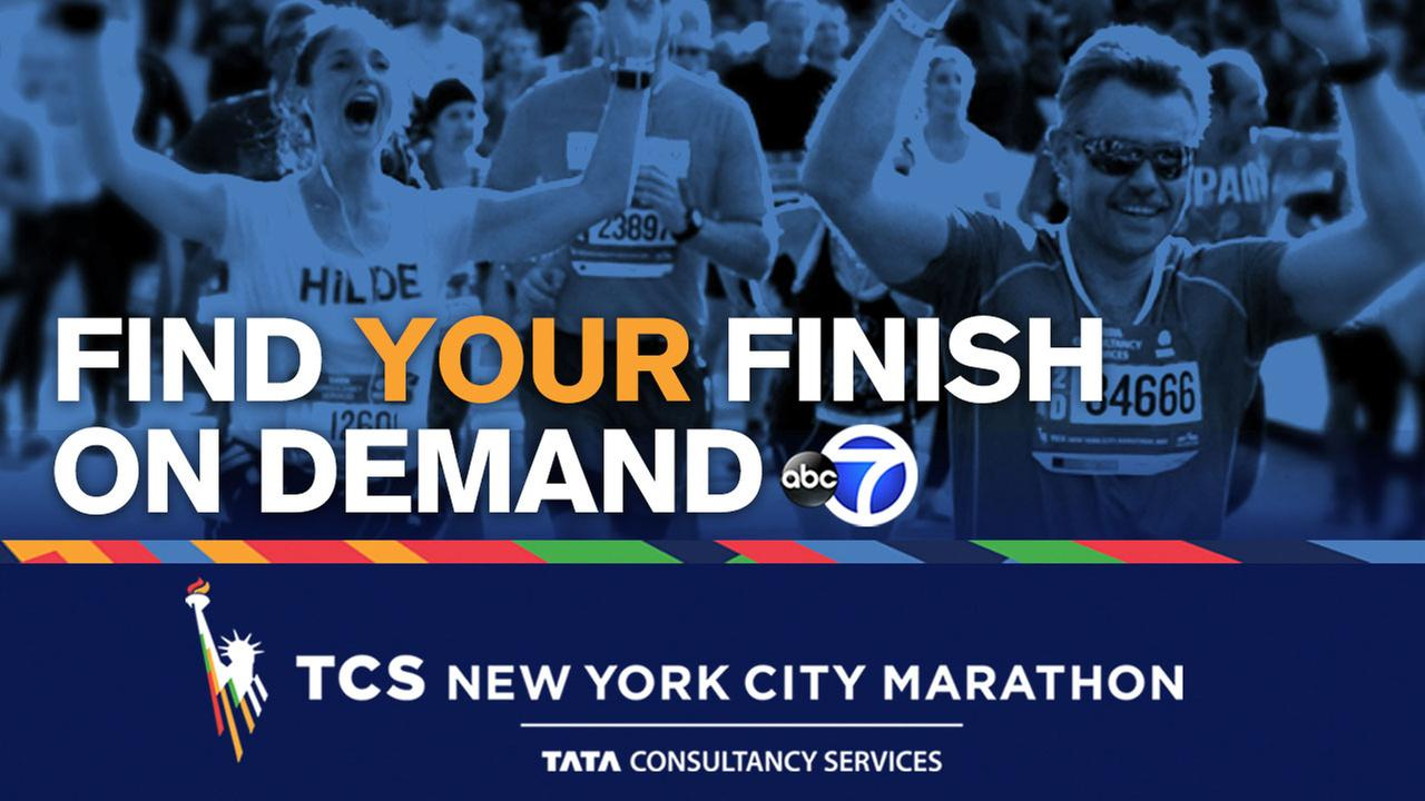 Graphic with the words Find Your Finish on Demand and image of people crossing the finish line in the TCS New York City Marathon