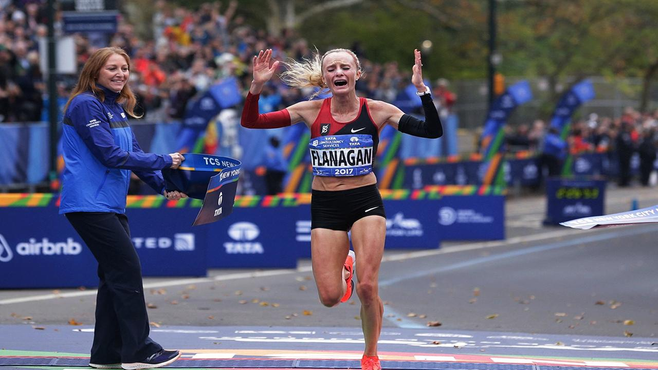 Shalane Flanagan crosses the finish line first in the womens division of the New York City Marathon in New York, Sunday, Nov. 5, 2017. (AP Photo/Seth Wenig)