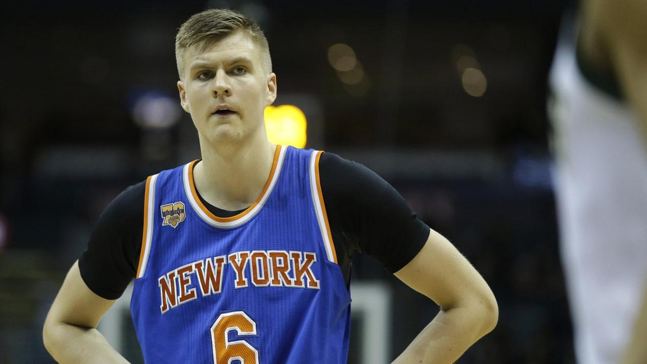 New York Knicks Kristaps Porzingis during the first half of an NBA basketball game against the Milwaukee Bucks Wednesday, March 8, 2017, in Milwaukee.