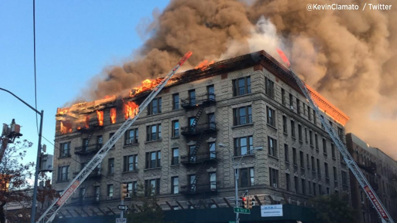 Flames Leap From Massive Apartment Blaze in NYC