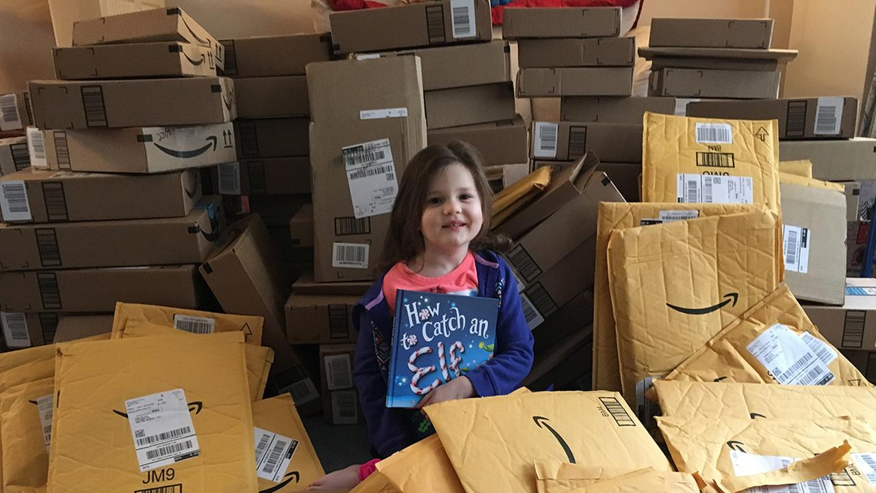 1st delivery of books arrive for 4-year-old New Jersey girl battling inoperable brain tumor