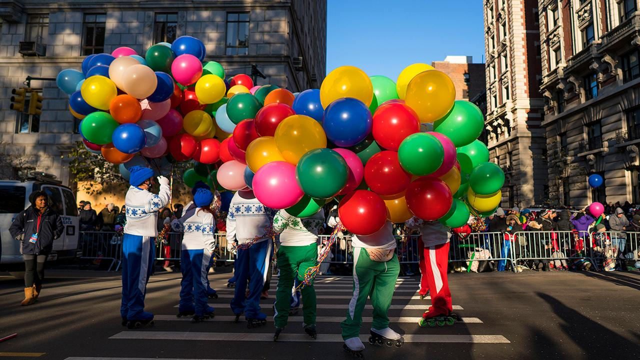 Participants take their place along the parade route before the Macys Thanksgiving Day Parade begins in New York, Thursday, Nov. 23, 2017. (AP Photo/Craig Ruttle)