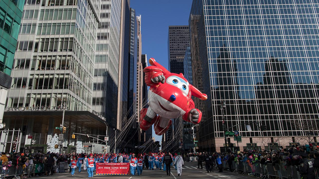 Jett from Super Wings floats down 6th Avenue during the Thanksgiving Day parade in New York, Thursday, Nov. 23, 2017. (AP Photo/Mary Altaffer)