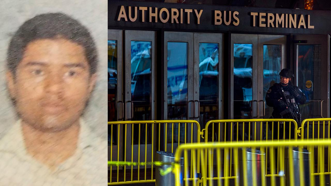 Left- Suspect Akayed Ullah Right- A police officer stands guard in front of Port Authority Bus Terminal