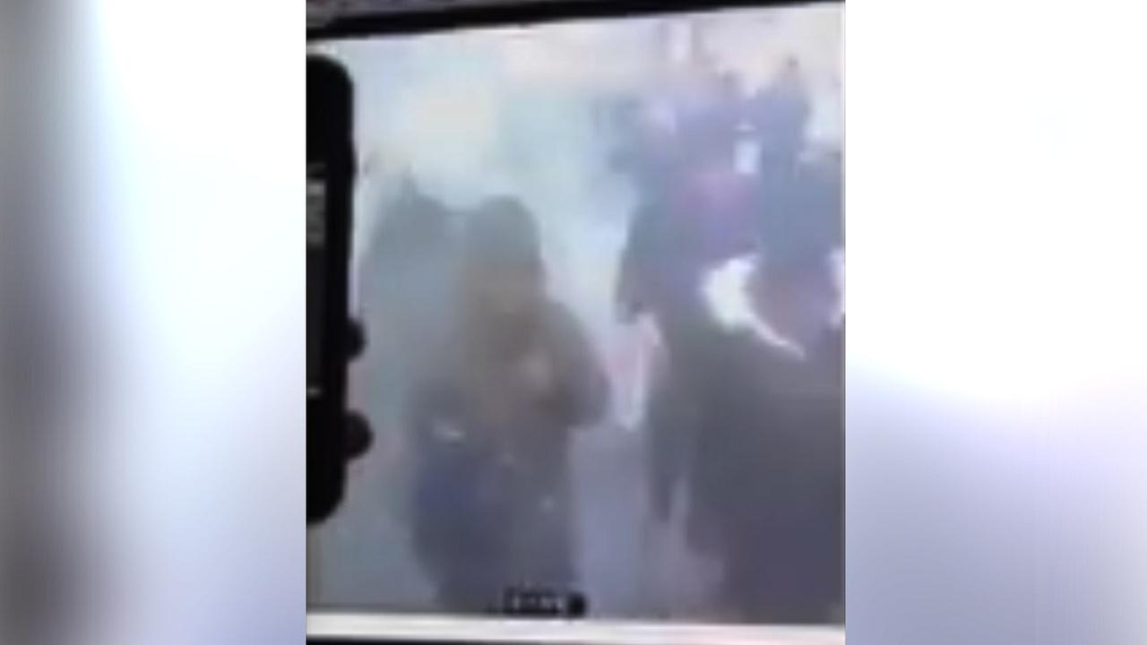 Surveillance video posted by @NYCityAlerts on Twitter shows the explosion that happened in the subway tunnel under 42nd Street in New York City.