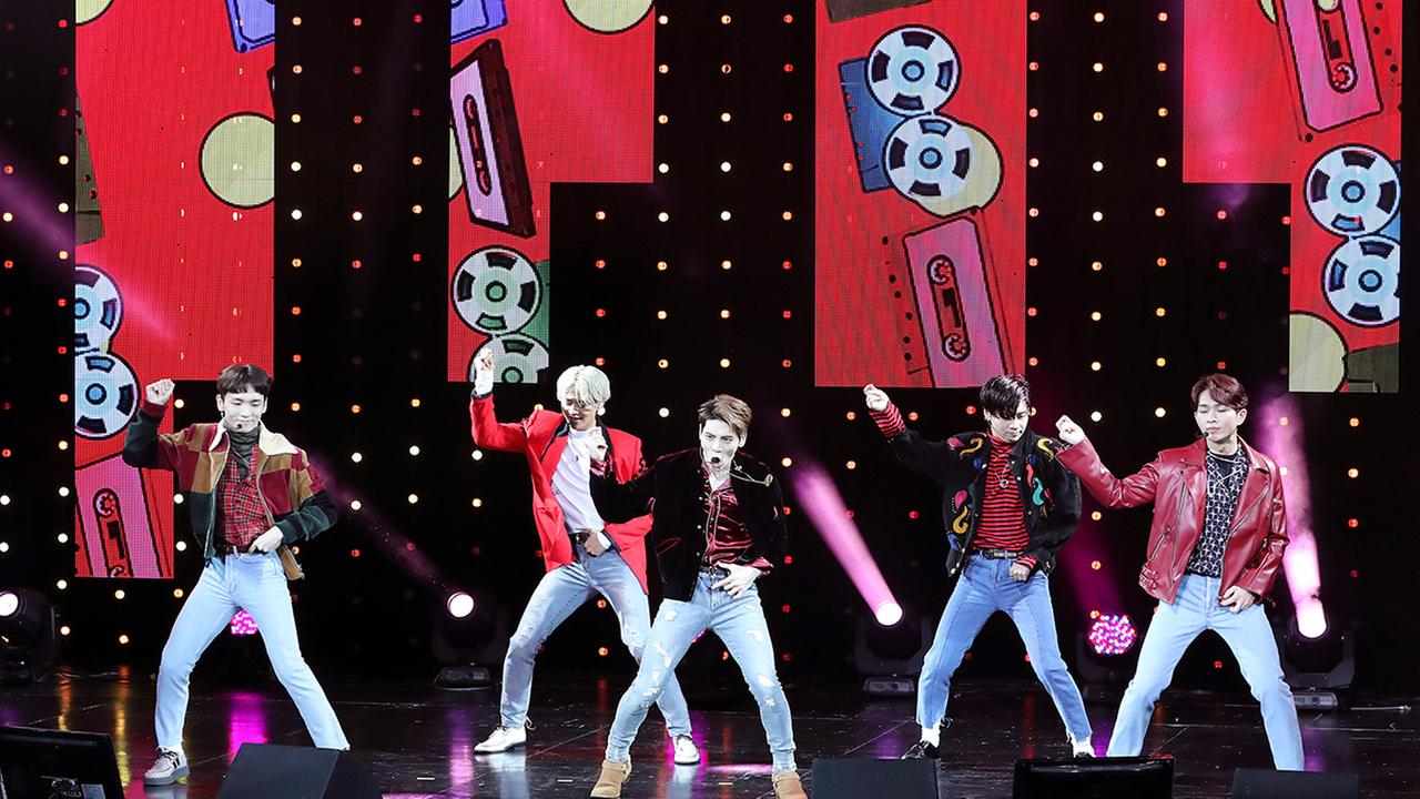 South Korean K-pop group SHINee perform during a showcase for their fifth album 1 of 1 in Seoul, South Korea, Tuesday, Oct. 4, 2016. (AP Photo/Lee Jin-man)