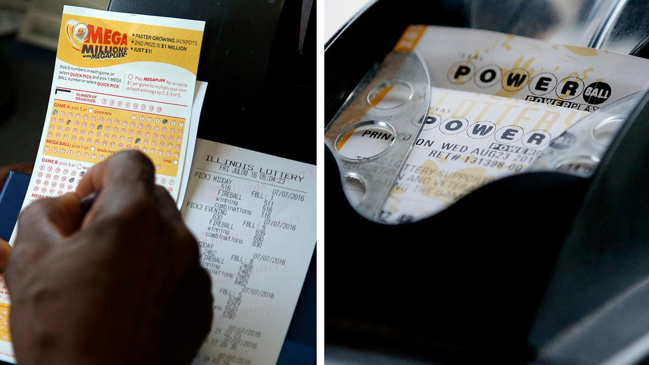 LOTTERYPowerball Mega Millions jackpots top a combined $800 million	Email		 							 				 	AP		FILE- Mega Millions and Powerball lottery tickets
