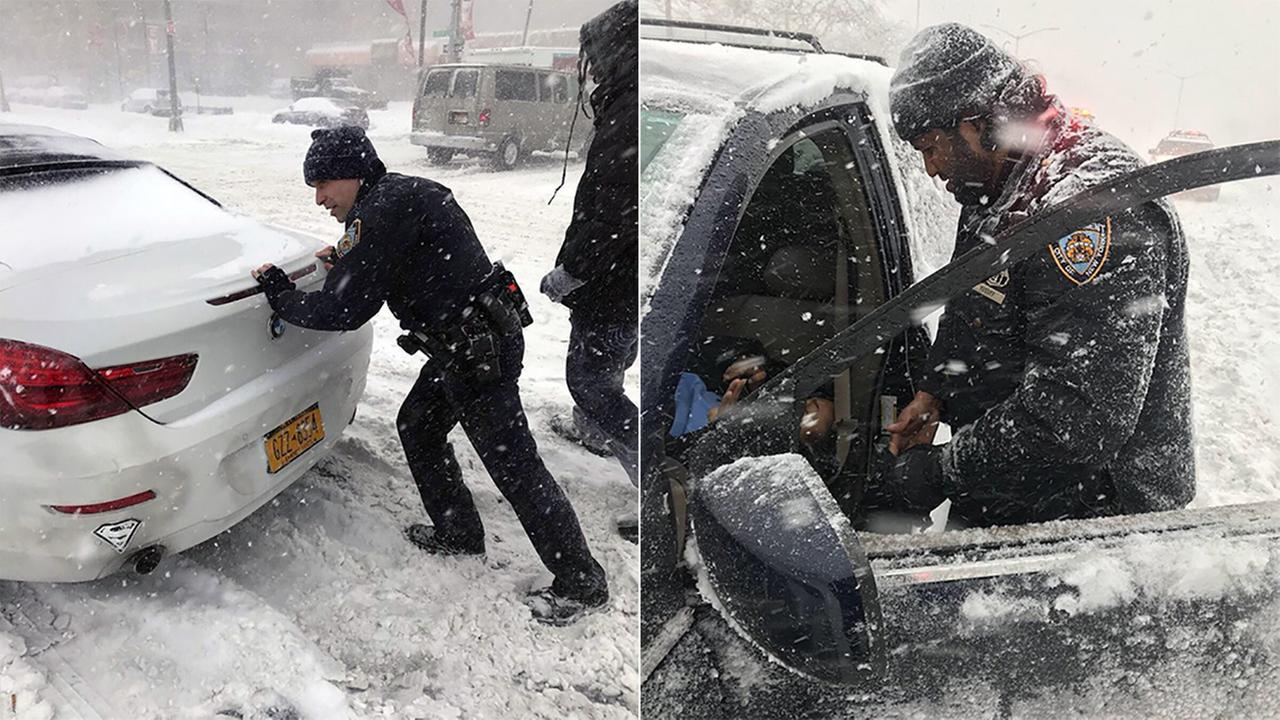 NYPD officers with the 73rd Precinct assist disabled motorists