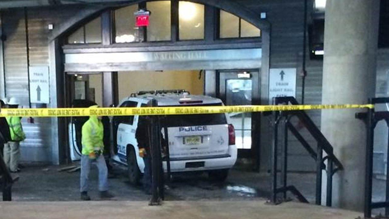 Stolen police vehicle rams into Hoboken Terminal waiting area doors