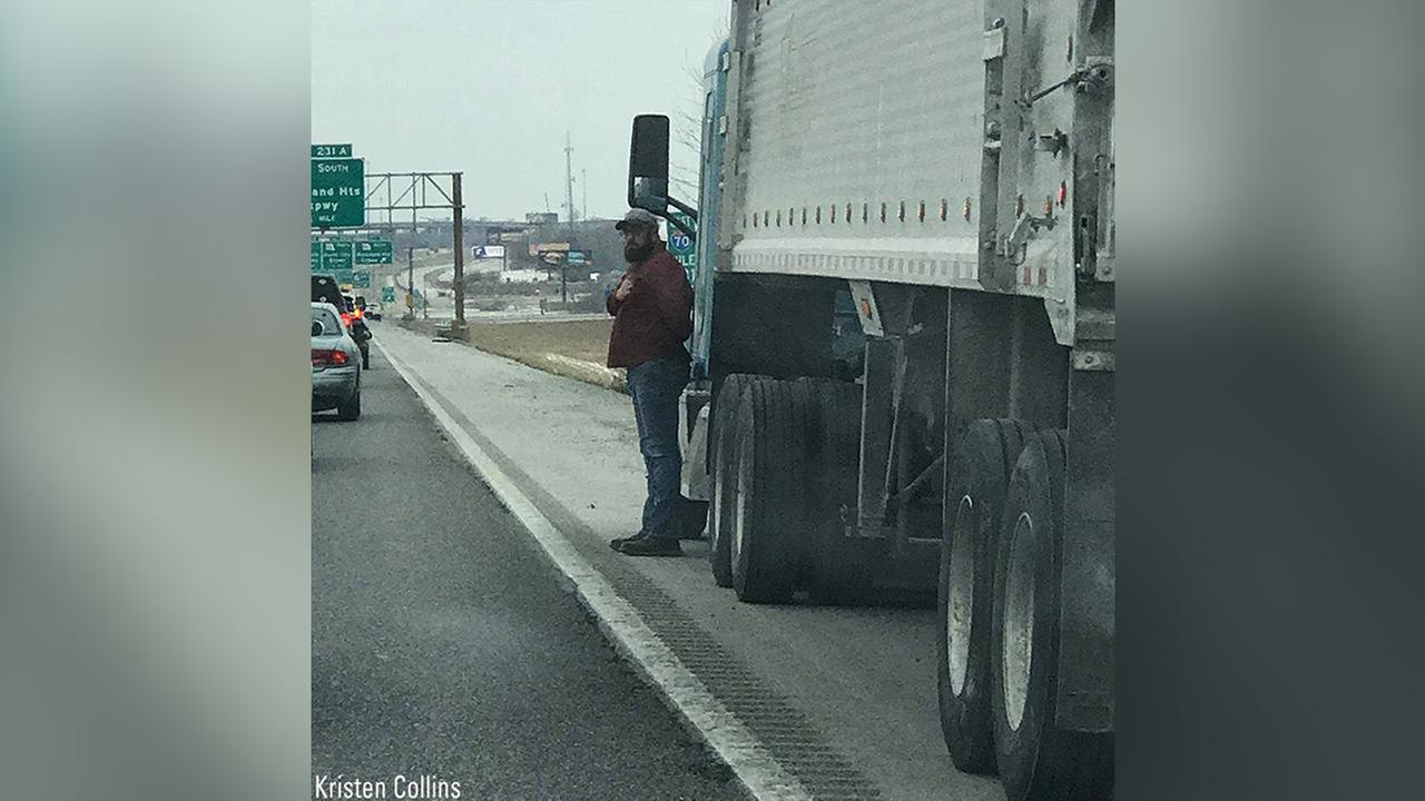 Trucker pulls over on highway, salutes veteran's funeral procession