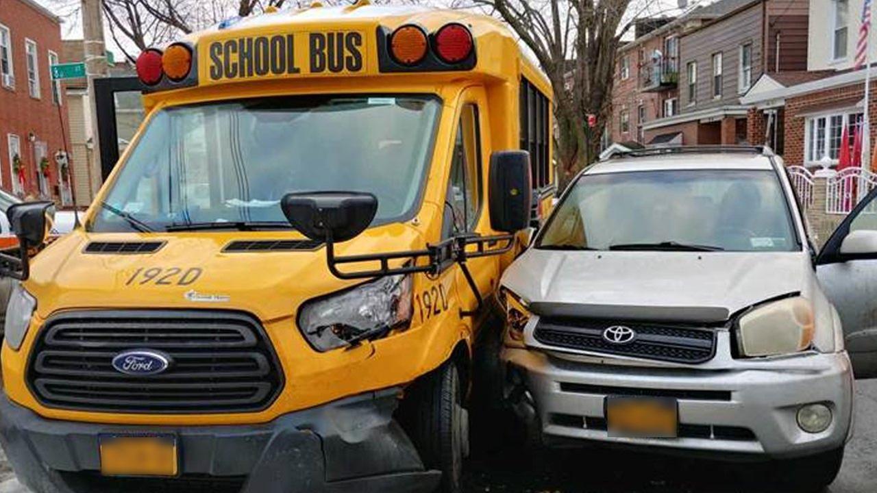 Mini school bus and car crash in Ozone Park, Queens