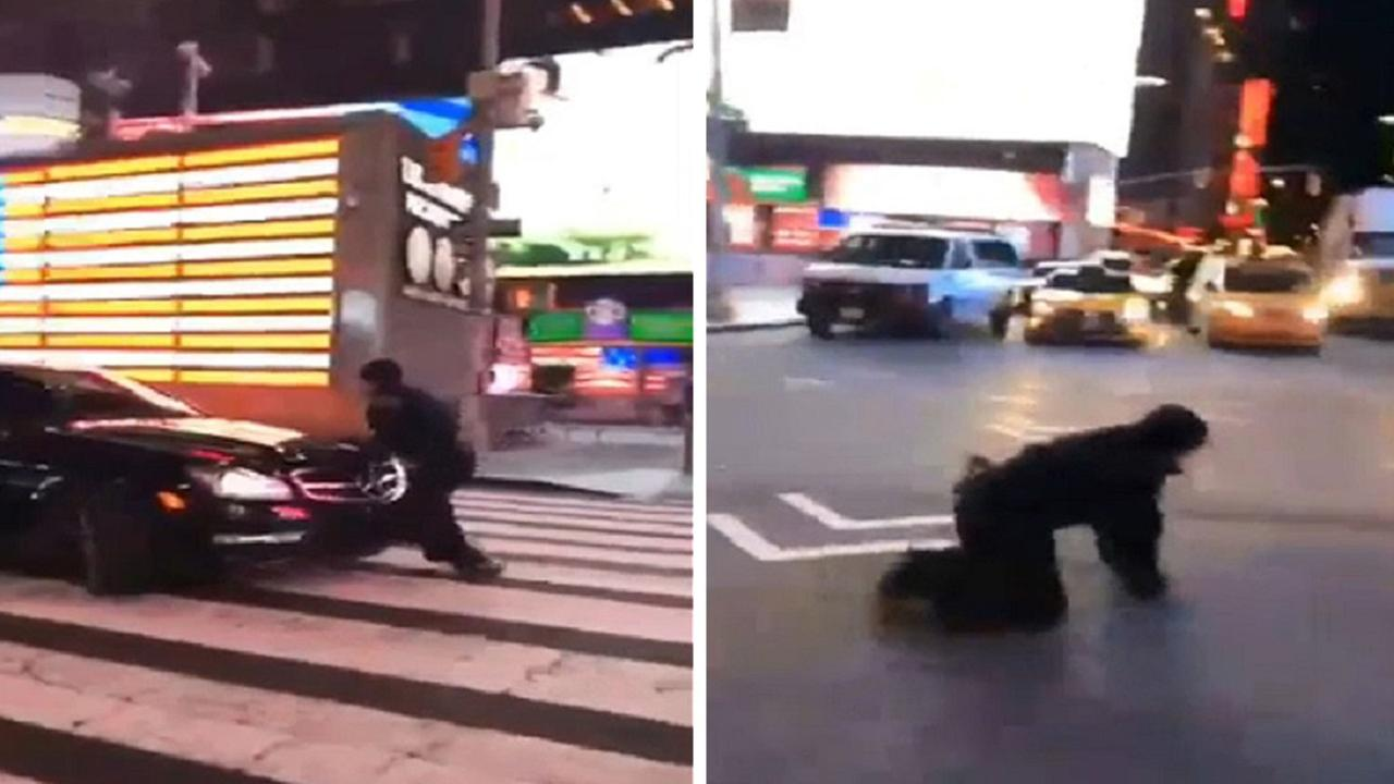 Vehicle seen on video clipping NYPD officer in Times Square