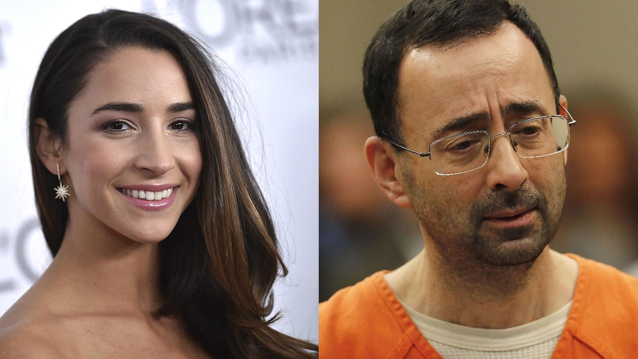 Left - Aly Raisman attends the 2017 Glamour Women of the Year Awards; Right - Dr. Larry Nassar appears in court for a plea hearing in Lansing, Michigan