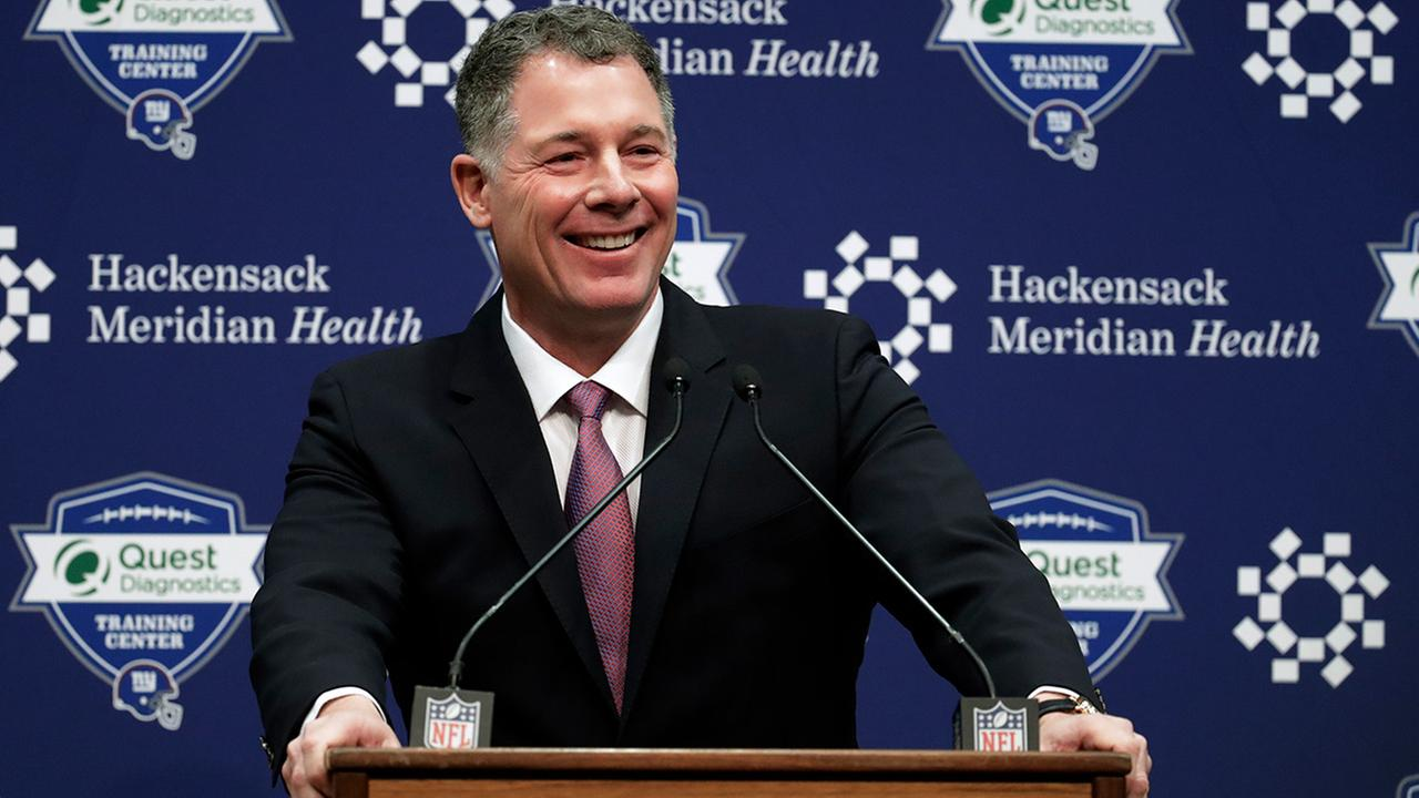 Pat Shurmur speaks after being introduced as head coach of the New York Giants during an NFL football news conference, Friday, Jan. 26, 2018, in East Rutherford , N.J.