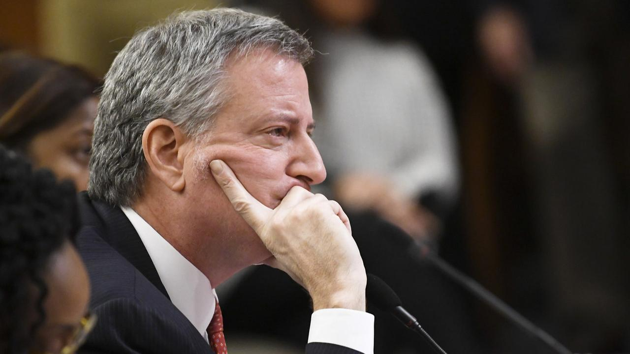 New York City Mayor Bill de Blasio testifies during a joint legislative budget hearing on local government Monday, Feb. 5, 2018, in Albany, N.Y.
