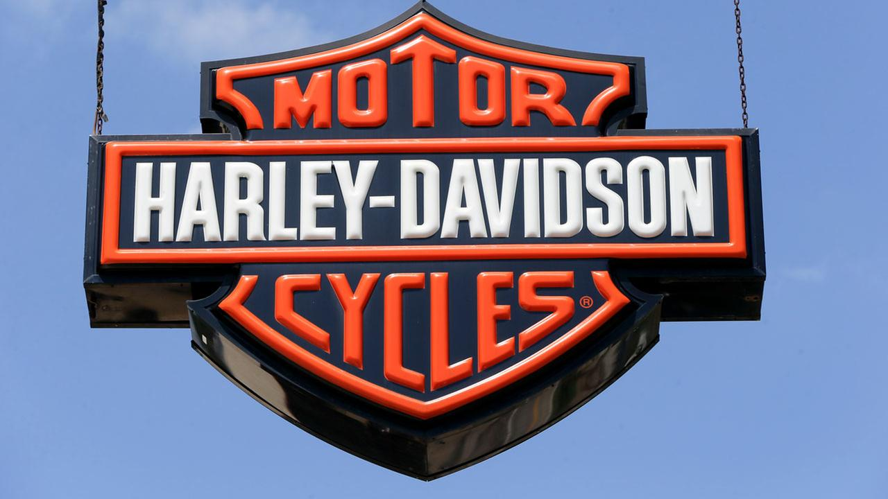 Dealership signs are at a Harley-Davidson dealership, Wednesday, April 26, 2017 in Glenshaw, Pennsylvania.