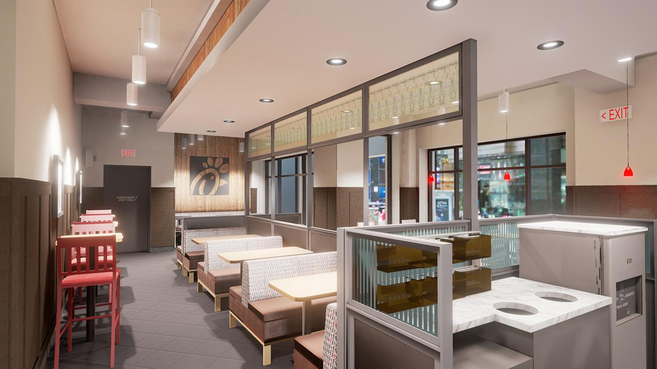 Artist rendering of the new Chick-fil-A restaurant, across from Grand Central Station at the corner of East 42nd Street and Madison Avenue, scheduled to open on Thursday, March 1