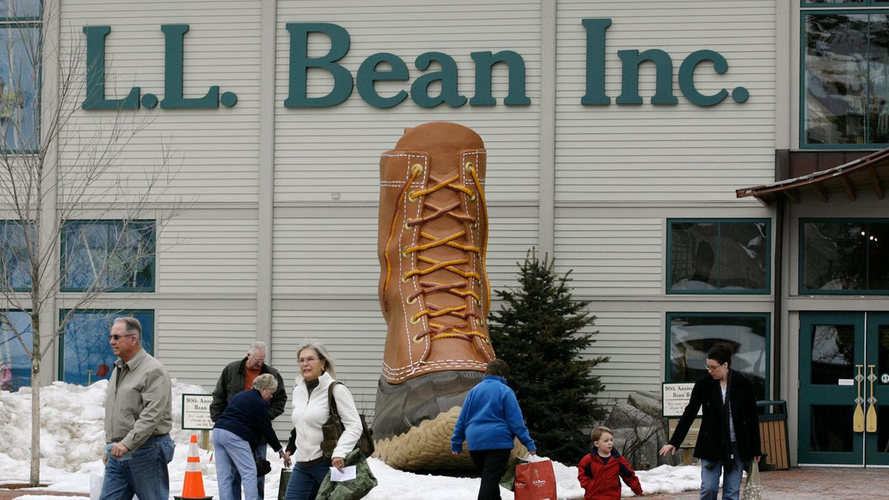 Shoppers are seen Friday, March 7, 2008 outside the L.L. Bean flagship store in Freeport, Maine.