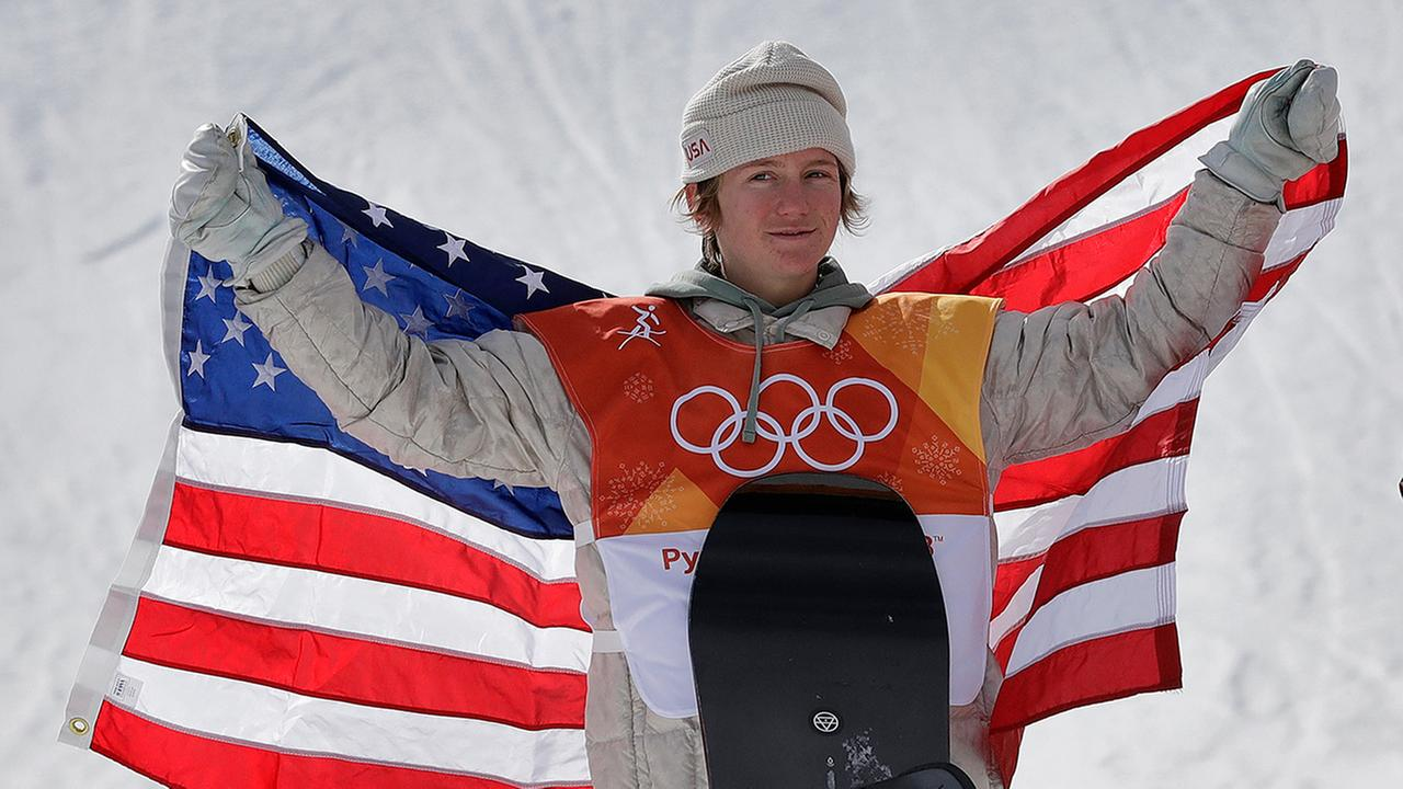 Red Gerard, of the United States, after winning gold in the mens slopestyle at Phoenix Snow Park at the 2018 Winter Olympics in Pyeongchang, South Korea. (AP Photo/Lee Jin-man)