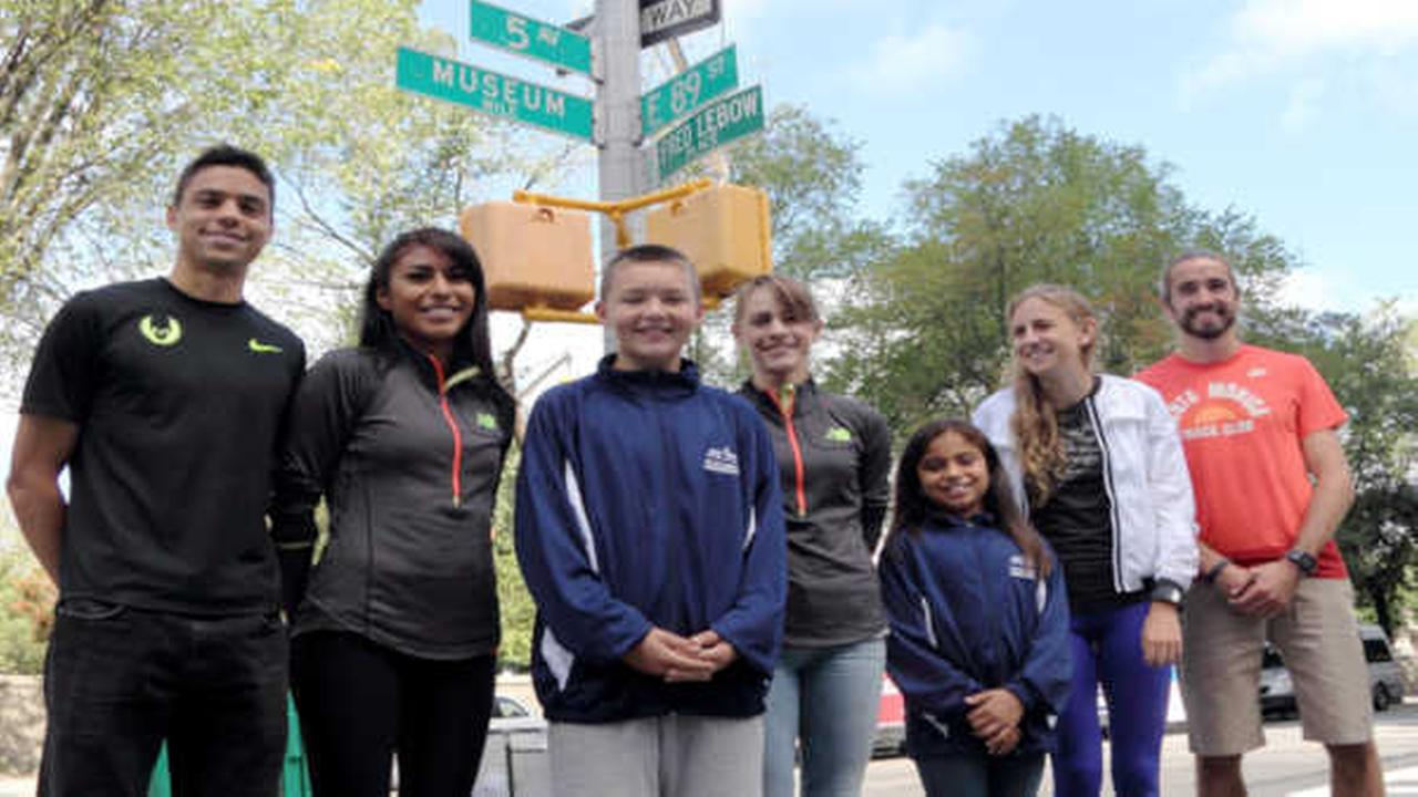 Matthew Centrowitz, Brenda Martinez, Jenny Simpson, Mary Cain and Will Leer in town for the 5th Avenue Mile greet NYRR Youth Running Ambassadors Will Tibbals (13) and Hope Perez (9