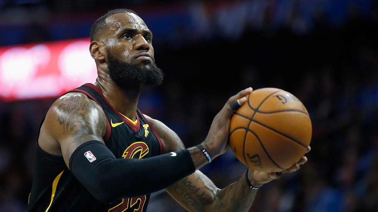 Cleveland Cavaliers forward LeBron James shoots a foul shot during an NBA basketball game against the Oklahoma City Thunder in Oklahoma City, Tuesday, Feb. 13, 2018.