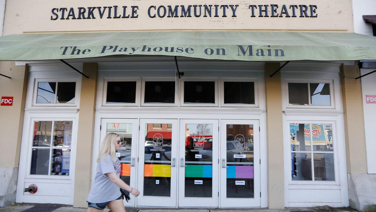 The Starkville Community Theatres doors are decorated with colored panels representing the LGBTQ rainbow flag, done in support the towns first-ever gay pride parade.