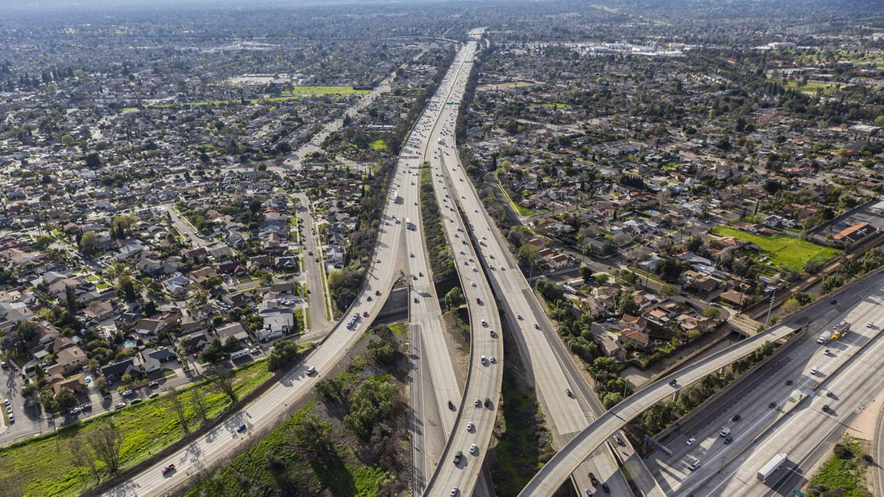 The 118 Freeway crossing the San Fernando Valley in Los Angeles, California