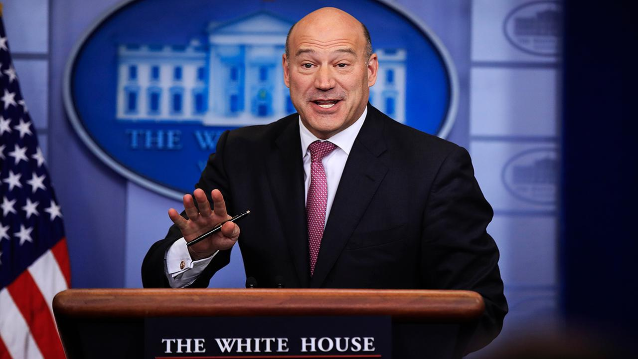 Gary Cohn speaks to reporters during the daily press briefing in the Brady press briefing room at the White House, Tuesday, Jan. 23, 2018. (AP Photo/Manuel Balce Ceneta)
