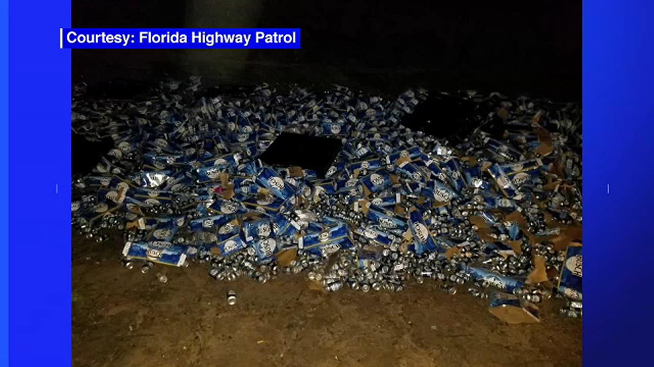 Tractor-trailer crash spills beer all over Florida highway