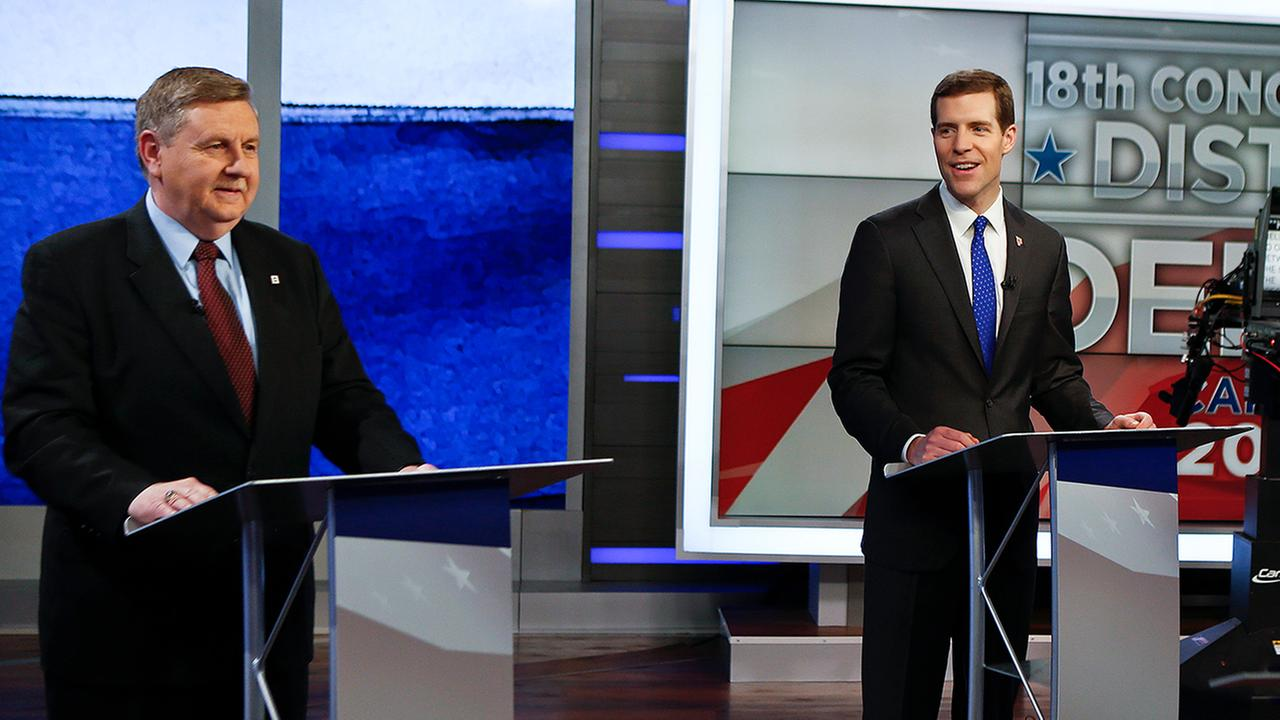 Republican Rick Saccone, left, and Democrat Conor Lamb before their first debate in the special election in Pennsylvania, Feb. 19, 2018, in Pittsburgh. (AP Photo/Keith Srakocic)