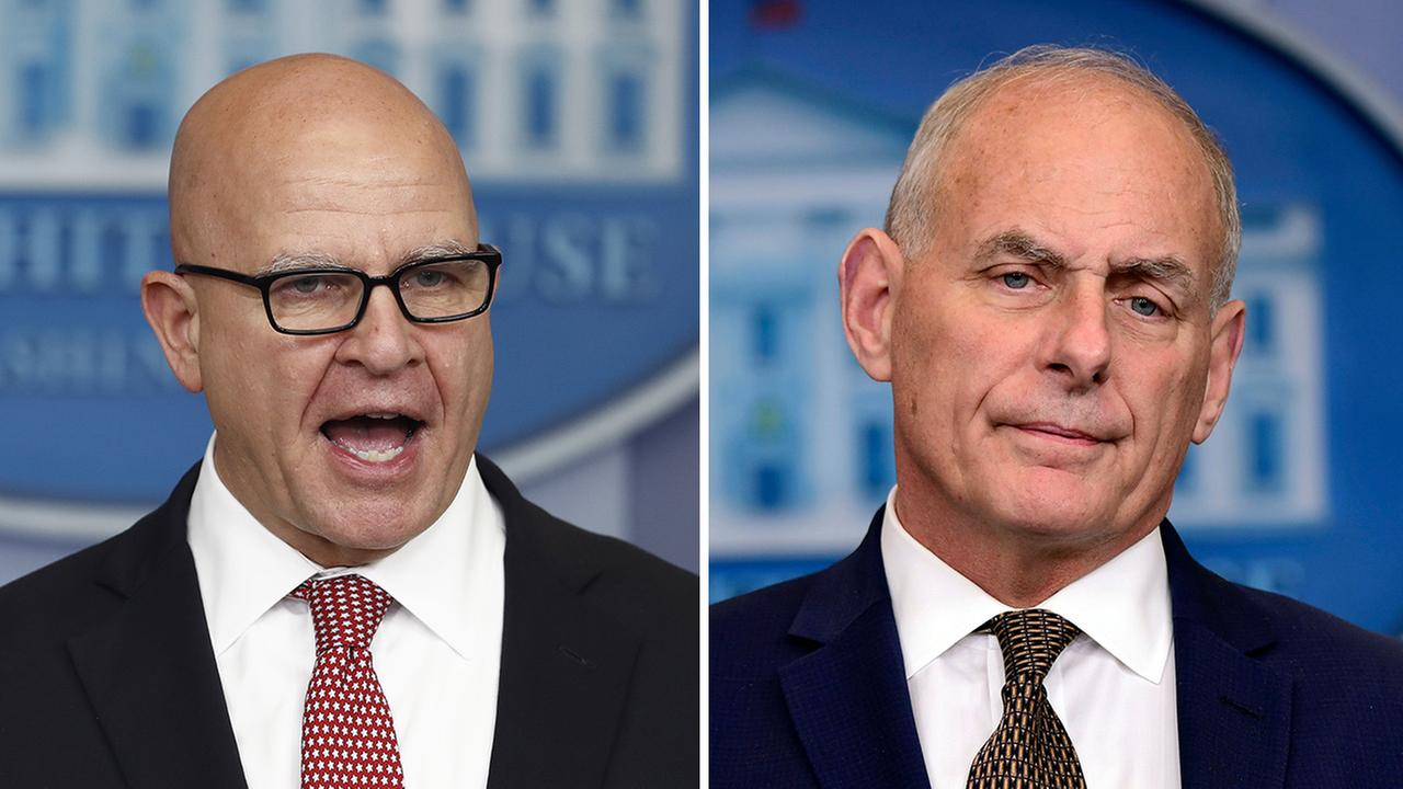 Left - National security adviser H.R. McMaster speaks at the White House; Right - White House Chief of Staff John Kelly listen to a reporters question at the White House