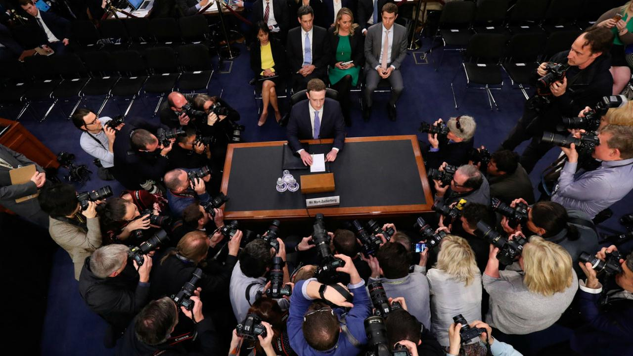 Facebook CEO Mark Zuckerberg arrives to testify before a joint hearing of the Commerce and Judiciary Committees on Capitol Hill in Washington.